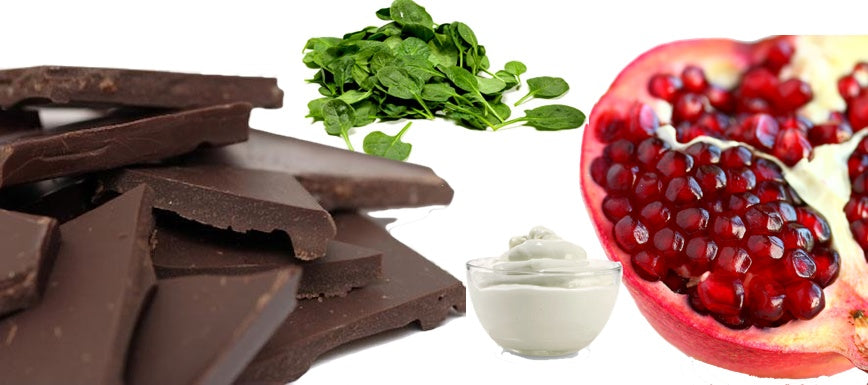 Good foods for healthy skin include dark chocolate, spinach, yogurt and pomegranate.