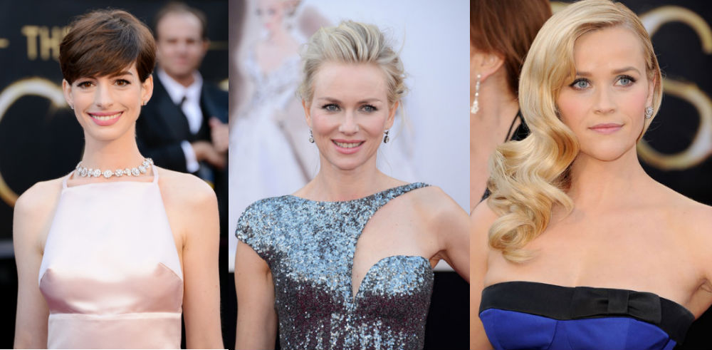 Anne Hathaway, Naomi Watts and Reese Witherspoon showed off pretty pink lip colors while walking the Oscars red carpet.