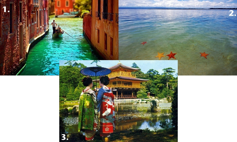 In a series of three pictures representing our top picks for the best honeymoon destinations: A man rows a gondola through a Venice, Italy canal, starfish are seen through the clear waters around Bocas de Toro, Panama and two geishas admire a Buddhist temple in Kyoto, Japan.