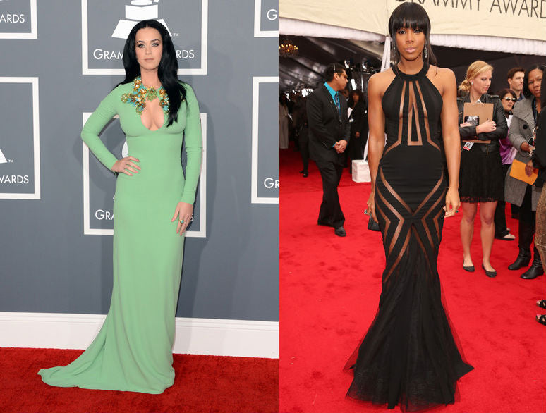 Katy Perry and Kelly Rowland show off their healthy skin routines in revealing Grammy fashions.