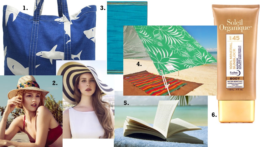 The six things we'll be bringing on our Memorial Day Beach Getaway include a beach bag, a beach hat, a beach blanket, a sombrilla, a good book and Soleil Organique sunscreen.