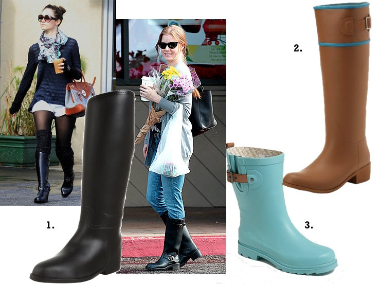 We love the stylish rain boots from dav, Nomad and Chooka.