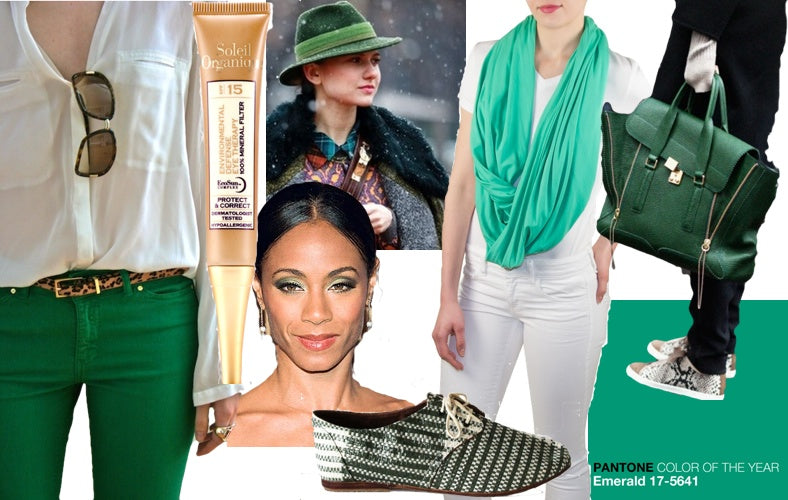 St. Patrick's Day emerald green options include a green scarf, satchel, shoes, pants and a fedora as well as eco-friendly options like makeup and sun care.