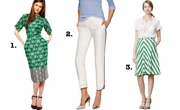 Show off your summer style at the office with brightly printed dresses like (far left), white pants (center) and striped skirts (far right).