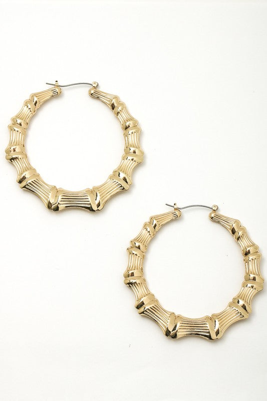 Classic Bamboo Hoops in Gold