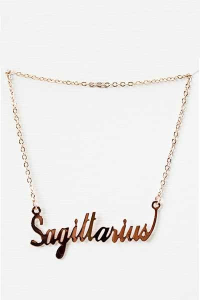 Zodiac Sign Nameplate Necklace in Gold