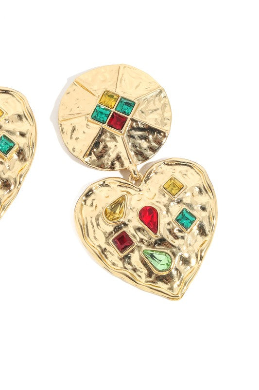 Jeweled Heart Drop Earrings in Gold