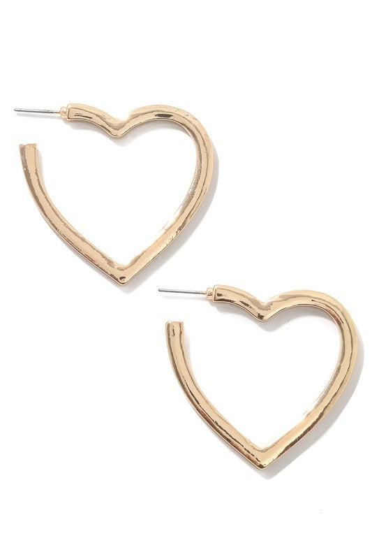 Heart Hoops in Gold