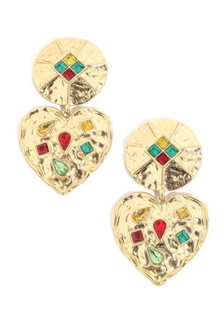 Rainbow Heart Earrings in Gold