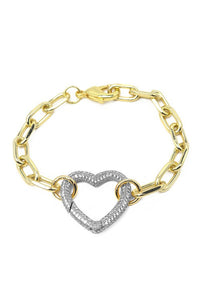 Two Tone Heart Chain Link Bracelet