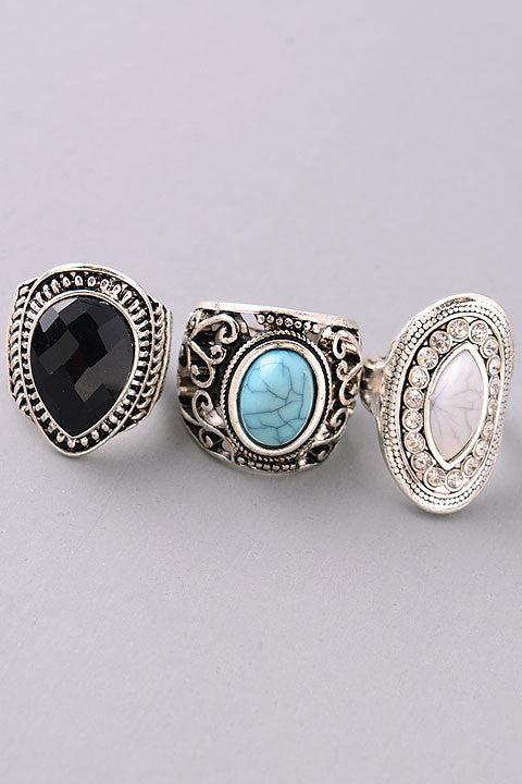 The Antique Ring Trio in Silver