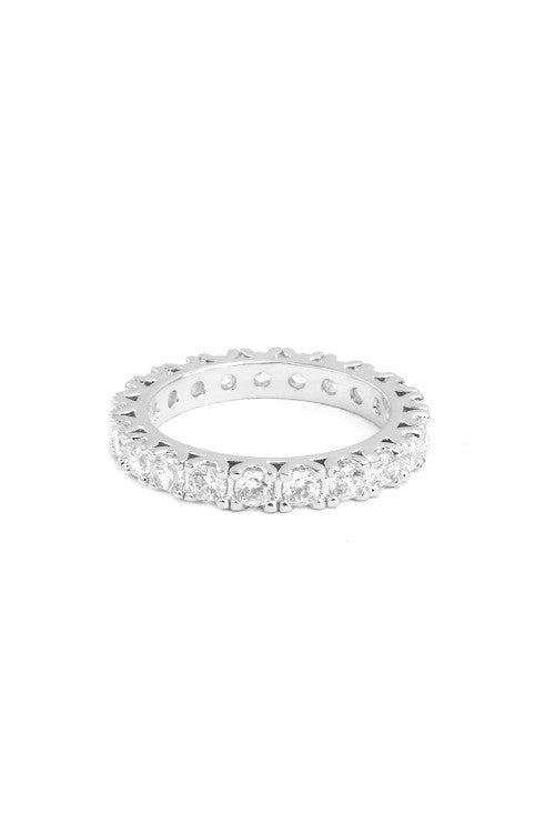 Dainty Round Eternity Ring in Silver