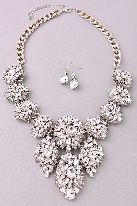 The Opulent Jewel Necklace Set in Silver