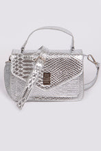 Load image into Gallery viewer, Snakeskin Crossbody Clutch in Silver