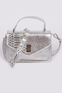 Snakeskin Crossbody Clutch in Silver