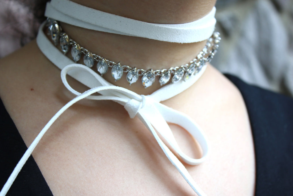 The Faux Suede Crystal Choker Set