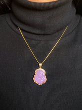 Load image into Gallery viewer, Green Jade Buddha Necklace in Gold