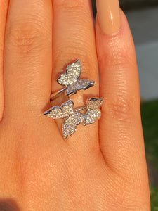 Pavé Butterflies Ring in Silver