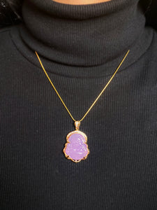 Green Jade Buddha Necklace in Gold