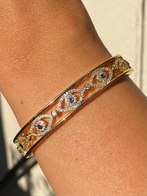 Load image into Gallery viewer, 18k Evil Eye Bangle