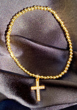 Load image into Gallery viewer, Cross Charm Bead Bracelet in Gold