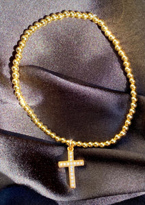 Cross Charm Bead Bracelet in Gold