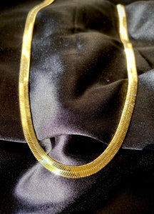 Thick Vermeil Herringbone Chain Necklace
