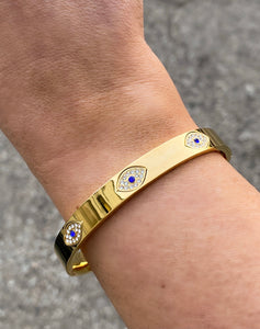 Evil Eye Protection Bangle in Gold