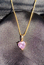 Load image into Gallery viewer, Pink Gem Heart Necklace