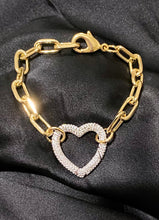 Load image into Gallery viewer, Two Tone Heart Chain Link Bracelet