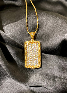 24k Icy Dog Tag Necklace