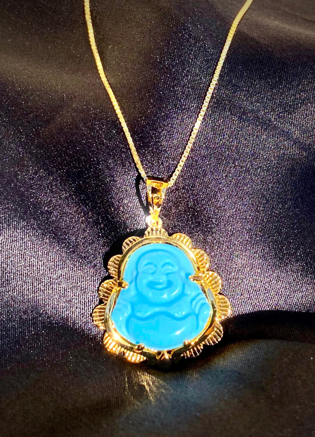 Baby Blue Jade Buddha Necklace in Gold