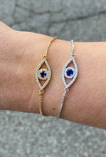 Load image into Gallery viewer, Evil Eye Pull Tie Bracelet
