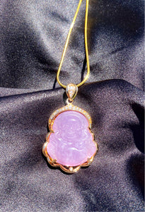 Lavender Jade Buddha Necklace in Gold