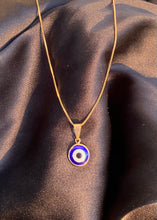 Load image into Gallery viewer, Evil Eye Circle Necklace in Gold