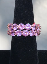 Load image into Gallery viewer, Pink Round Eternity Ring in Rose Gold