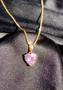 Pink Gem Heart Necklace