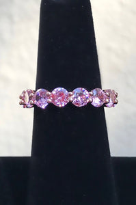 Pink Round Eternity Ring in Rose Gold