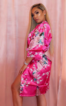 Load image into Gallery viewer, Peacock Blossom Robe Kimono in Hot Pink