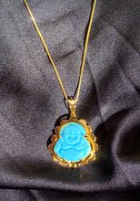 Load image into Gallery viewer, Baby Blue Jade Buddha Necklace in Gold