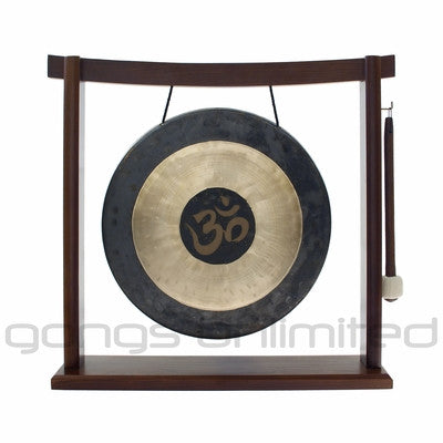 "12"" Om Engraved Chau Gong on the Woodsonic Gong Stand"