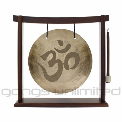 "12"" Om Engraved Wind Gong on the Woodsonic Gong Stand"