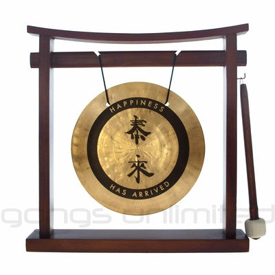"8"" Tai Loi Gong on Pretty Chill Wood Stand - ""Happiness has Arrived"""