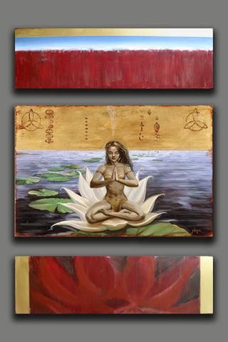 "*ORIGINAL - Golden Lotus Triptych 48""x36"" oil and mixed media on linen and canvas  by Yurik"