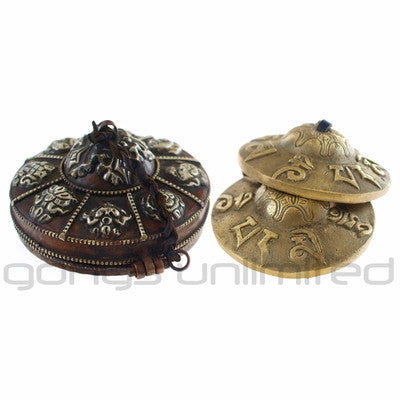 "3"" Tingshas (Meditation Bells) with Decorative Metal Case"