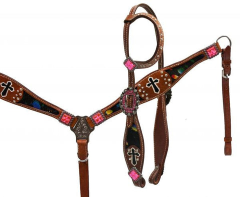 #HE0214 One ear headstall set / Ensemble bride oreilles SHOWMAN