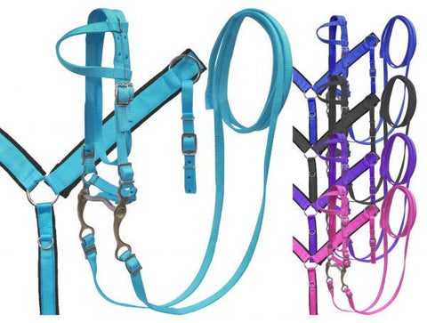 #HE0220 Headstall nylon set pony / Bride et bricole en nylon poney SHOWMAN