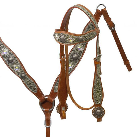 #HE0227 Headstall & breast collar / Ensemble de bride SHOWMAN