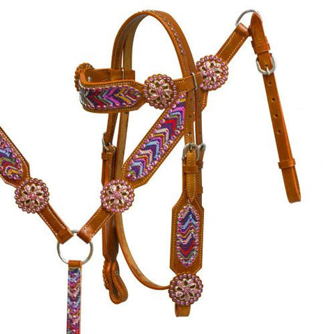 #HE0229 Headstall & breast collar / Ensemble de bride SHOWMAN