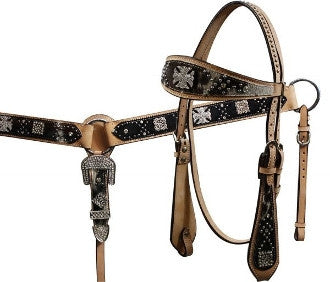 #HE0124 Headstall & breast collar / Ensemble de bride SHOWMAN